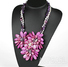 Elegant och Big Style Purple Pearl kristall och Agat och Shell Flower Party halsband