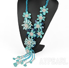 Wholesale Elegant and Big Style Green Color Teeth Shape Pearl and Turquoise and Blue Agate Flower Party Necklace