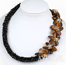 Elegant Style Black Crystal and Tiger Eye Flower Necklace