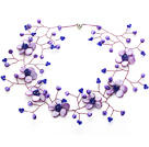 Elegant Style Purple Pearl Crystal and Shell Flower Necklace