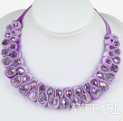 Fashion Style Clear with Colorful Crystal Woven Bib Necklace with Purple Velvet Ribbon