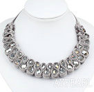 Fashion Style Clear with Colorful Crystal and Gray Velvet Ribbon Woven Bib Necklace