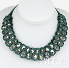 Fashion Style Clear with Colorful Crystal Woven Bib Necklace with Peacock Green Velvet Ribbon