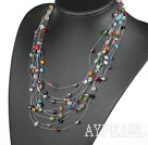 Fancy Style Multi Layer Blandade Multi Color Crystal Halsband