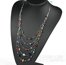 Multi Layer Multi Color Crystal Necklace with Metal Wire