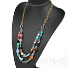 Assorted Multi Color Multi Stone Halskjede med bronse Chain