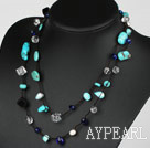 Long Style Pearl and Clear Crystal and Black Agate and Turquoise Necklace