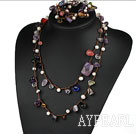 Assorted Pearl and Amethyst and Multi Crystal Necklace ( One Short and One Long )