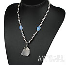 Gray Pearl and Opal Crystal Necklace with Clear Crystal Pendant