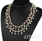 Long Style White Freshwater Pearl Crystal Necklace with Brown Cord