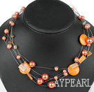 Multi Strands Assorted Orange Color Shell Necklace