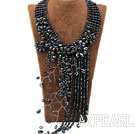Elegant and Big Style Black Freshwater Pearl Crystal Tassel Party Necklace