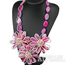 Wholesale Elegant and Big Style Pink Rose Agate and Multi Color Pearl Flower Party Necklace