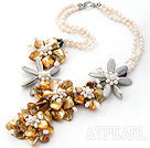Wholesale Elegant and Big Style Natural White Freshwater Pearl and Yellow Shell Flower Party Necklace