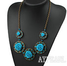 Wholesale Vintage Style Blue Acrylic Flower Shape Necklace with Bronze Chain