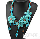 Wholesale Elegant and Big Style Brown Pearl and Turquoise Flower Party Necklace