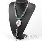 Wholesale Assorted Multi Color Multi Stone Y Shape Necklace with Owl Shape Pendant