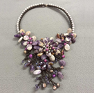 Fantastic Statement Style Natural Freshwater Pearl Amethyst Crystal Flower Party Necklace
