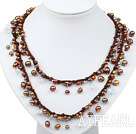 Long Style Brown Freshwater Pearl Necklace with Brown Thread