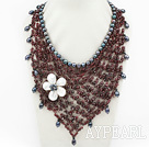 Wholesale Elegant and Big Style Garnet and Black Pearl and White Shell Flower Party Bib Necklace