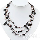 Wholesale Long Style White Freshwater Pearl and Black Agate Necklace
