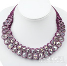 Fashion Style Clear Crystal Woven Bib halsband med Dark Purple Velvet Ribbon