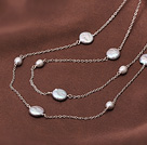 Classic Design Naturel Gris Coin Pearl Necklace long