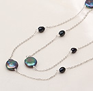 Classic Design Natural Black Coin Pearl Long Necklace