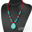 Wholesale Assorted Red Coral and Turquoise Necklace with Drop Shape Turquoise Pendant