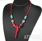 Elegant stil Assorted Red Coral og turkis Necklace med Branch Shape Red Coral anheng