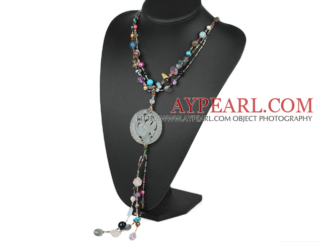 Assorted Multi Color Pearl and Crystal Y Shape Necklace with Serpentine Jade