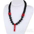 Bold Style New Design Branch Shape Red Coral and Volcanic Rocks Beads Necklace