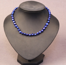 Simple Trendy Style Natural Deep Blue Potato Pearl Necklace