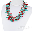 Multi Strands Assorted Red Coral og turkis Necklace med Brown Tråd