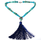 Turquoise Y Shape Necklace with Dark Blue Thread Tassel