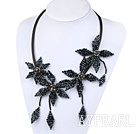 New Design Black Crystal Weaved Flower Necklace with Leather Cord
