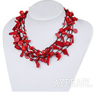 Blandade Multi Strands Red Coral Halsband