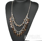 New Design Double Layer Brown Crystal and Colored Glaze Necklace with Metal Chain