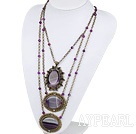 Vintage Style Three Layer Purple Agate Necklace with Bronze Chain