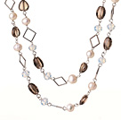 Beautiful Long Style Heart and Drum Shape Natural Smoky Quartz and White Pearl Beads Necklace