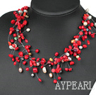 Fancy Style Red Coral and White Pearl Necklace with Lobster Clasp