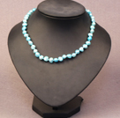 Simple Trendy Style Natural Sky Blue Potato Pearl Necklace