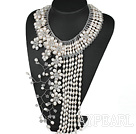 Elegant and Big Style White Freshwater Pearl Crystal Flower Party Tassel Necklace