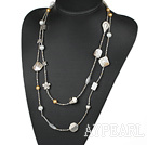 White Series Long and Fashion Style Seashell Beads and Crystal Necklace