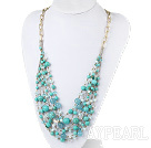 Wholesale Green Series Multi Layer Turquoise and Kyanite and Light Blue Crystal Necklace with Metal Chain
