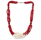 Wholesale Multi Strands Cylinder Shape White and Red Coral Necklace