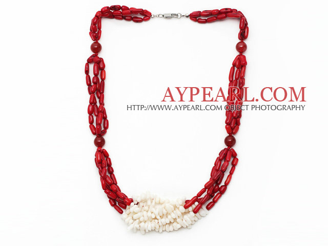 Multi Strands Cylinder Shape White and Red Coral Necklace
