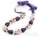 Purple Series Drop Shape Amethyst and Pink Pearl and Clear Crystal Necklace with Purple Cord