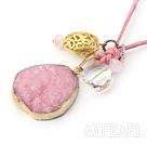 Pink Series Crystallized Agate Pendant Necklace with Pink Cord ( The pendant may not complete )