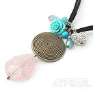 Simple Design Scrub Rose Quartz and Turquoise and Rhinestone Ball Pendant Necklace
